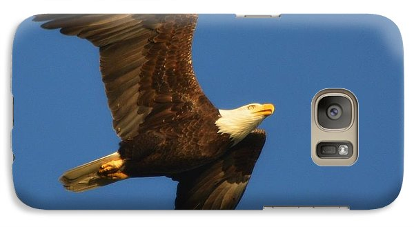 Galaxy Case featuring the photograph American Bald Eagle Close-ups Over Santa Rosa Sound With Blue Skies by Jeff at JSJ Photography
