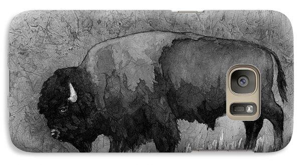 Monochrome American Buffalo 3  Galaxy Case by Hailey E Herrera