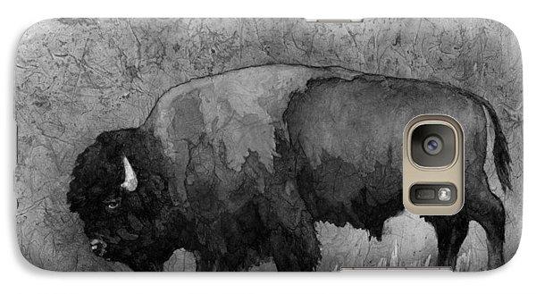 Bison Galaxy S7 Case - Monochrome American Buffalo 3  by Hailey E Herrera