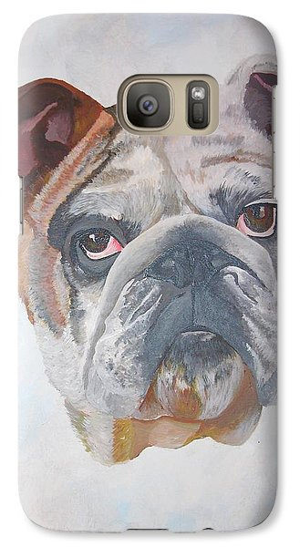Galaxy Case featuring the painting American Bulldog Pet Portrait by Tracey Harrington-Simpson