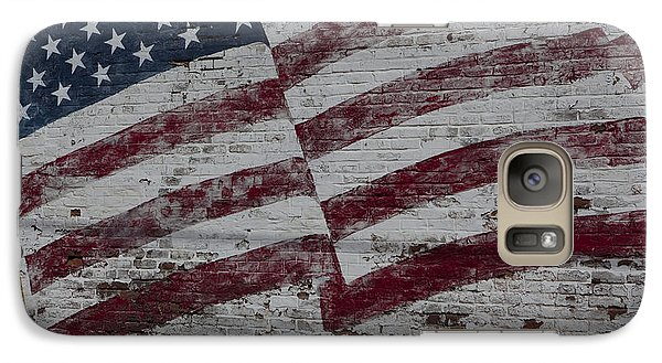Galaxy Case featuring the photograph American Flag Painted On Brick Wall by Keith Kapple