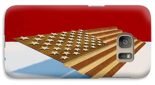 Folk Art Galaxy S7 Case - American Flag Wood by Yo Pedro
