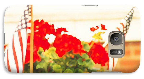 Galaxy Case featuring the photograph American Flags And Geraniums In A Wheelbarrow One by Marian Cates
