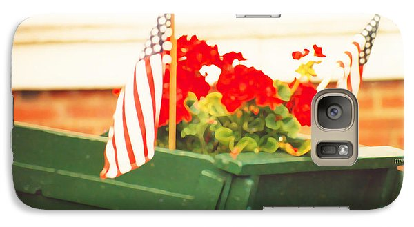 Galaxy Case featuring the photograph American Flags And Geraniums In A Wheelbarrow Two by Marian Cates