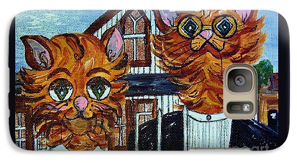 Galaxy Case featuring the painting American Gothic Cats - A Parody by Eloise Schneider