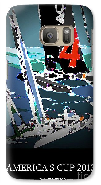 Galaxy Case featuring the mixed media America's Cup 2013 Poster by Andrew Drozdowicz