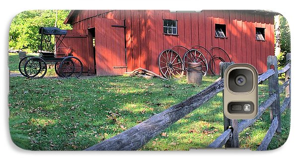 Galaxy Case featuring the photograph Amish Barn Along A Fenceline by Gordon Elwell