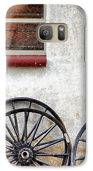 Galaxy Case featuring the photograph Amish Buggy Wheels by Polly Peacock