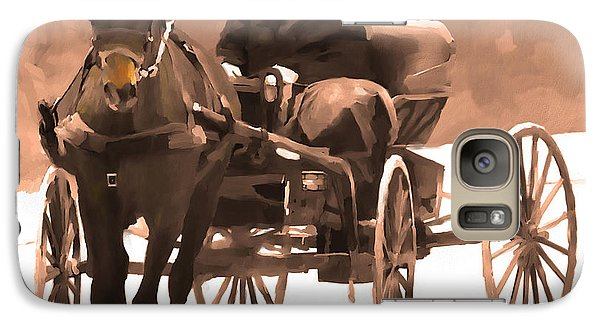 Galaxy Case featuring the digital art Amish Carriage by Bob Salo