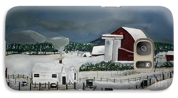 Galaxy Case featuring the painting Amish Farm - Winter - Michigan by Jan Dappen