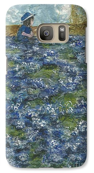 Galaxy Case featuring the painting Among The Blue Bonnets by Lynn Babineau