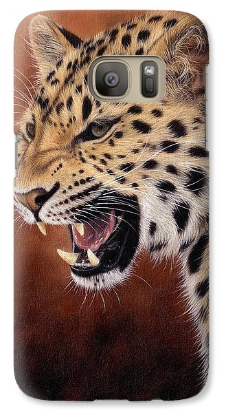 Amur Leopard Painting Galaxy S7 Case by Rachel Stribbling