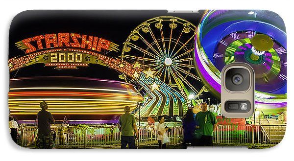 Galaxy Case featuring the photograph Amusement Park Rides At Night by Bob Noble Photography