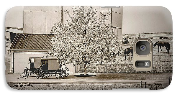 Galaxy Case featuring the photograph An Amish Farm In Sepia by Dyle   Warren