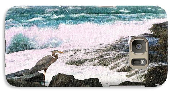 Galaxy Case featuring the digital art An Egret's View Seascape by Lianne Schneider
