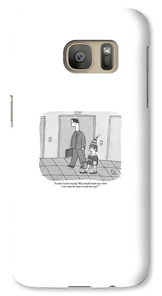 Elf Galaxy S7 Case - An Elf Carrying Briefcase Says To The Man by Peter C. Vey