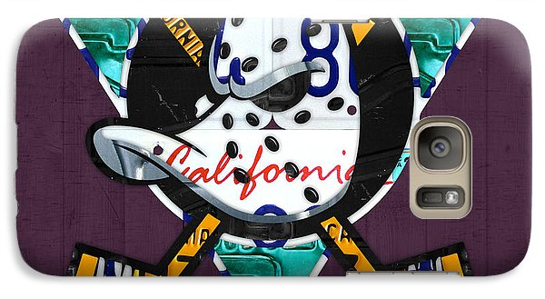 Anaheim Ducks Hockey Team Retro Logo Vintage Recycled California License Plate Art Galaxy S7 Case