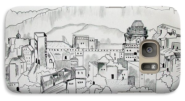 Galaxy Case featuring the drawing Ancient City In Pen And Ink by Janice Rae Pariza