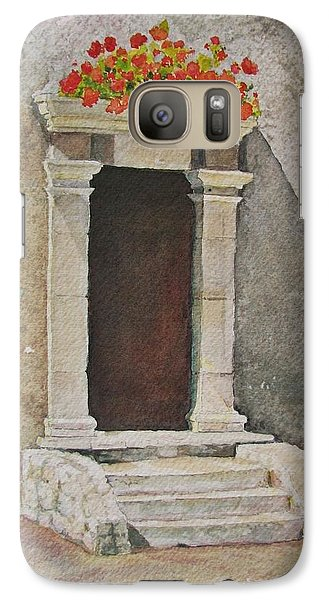Galaxy Case featuring the painting Ancient  Doorway  by Mary Ellen Mueller Legault
