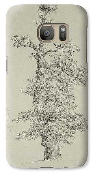 Stork Galaxy S7 Case - Ancient Oak Tree With A Storks Nest by Caspar David Friedrich