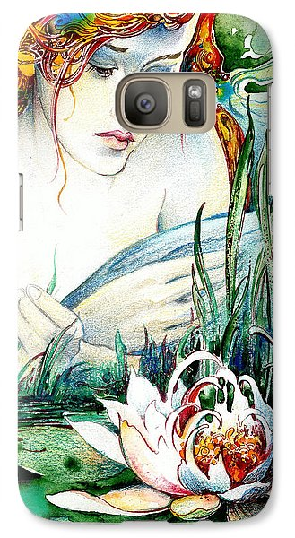 Galaxy Case featuring the painting Angel And Lily by Anna Ewa Miarczynska