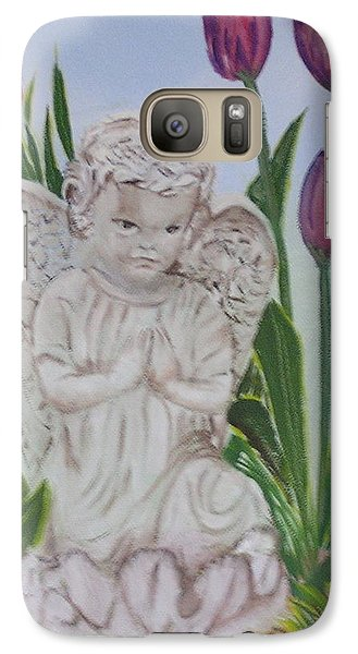 Galaxy Case featuring the painting Angel In The Garden by Sharon Schultz