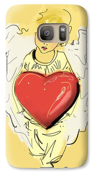 Galaxy Case featuring the painting Angel Red Heart by Go Van Kampen