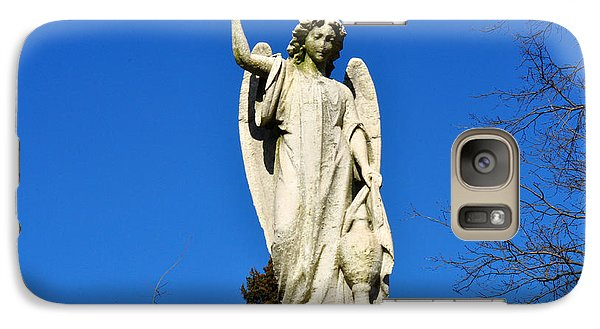 Galaxy Case featuring the photograph Angel With Blue Sky by Diane Lent