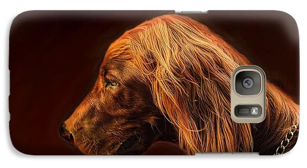 Galaxy Case featuring the photograph Angus Irish Red Setter by Wallaroo Images