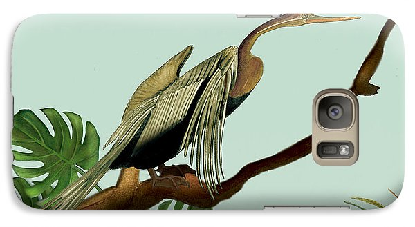 Galaxy Case featuring the painting Anhinga Bird by Anne Beverley-Stamps