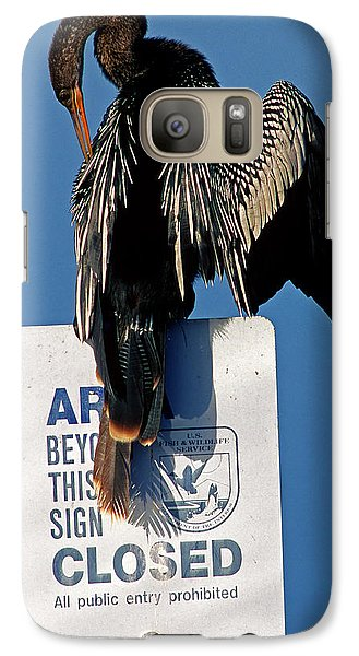 Anhinga Perched On A Signpost Galaxy S7 Case