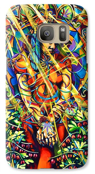 Galaxy Case featuring the painting Annelise's Garden by Greg Skrtic