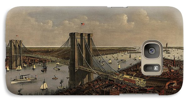 Antique Birds Eye View Of The Brooklyn Bridge And New York City By Currier And Ives - 1885 Galaxy S7 Case by Blue Monocle