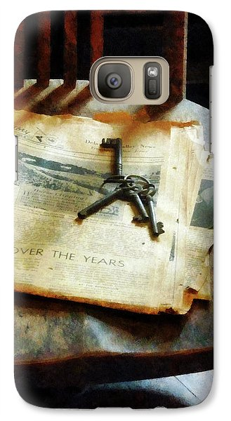 Galaxy Case featuring the photograph Antique Keys On Newspaper by Susan Savad