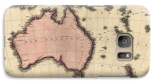 Antique Map Of Australia And The Pacific Islands By John Pinkerton - 1818 Galaxy Case by Blue Monocle