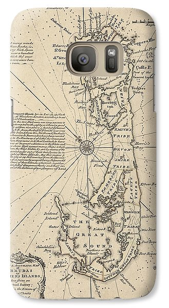 Galaxy Case featuring the drawing Antique Map Of Bermuda By Emanuel Bowen - 1750 by Blue Monocle