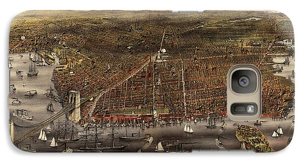 Antique Map Of Brooklyn By Currier And Ives - Circa 1879 Galaxy S7 Case
