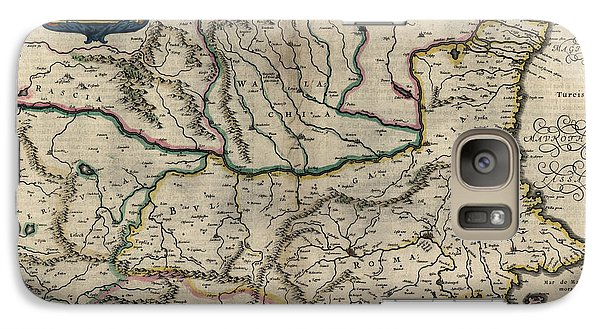 Galaxy Case featuring the drawing Antique Map Of Bulgaria Romania And Serbia By Willem Janszoon Blaeu - 1647 by Blue Monocle