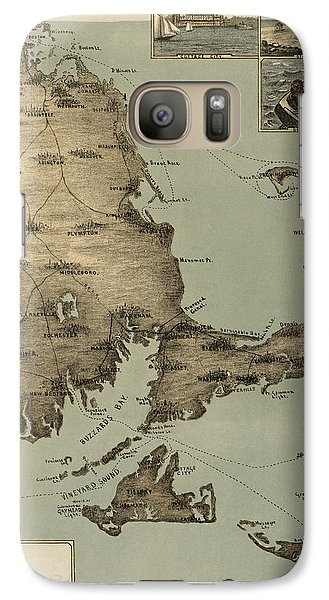 Galaxy Case featuring the drawing Antique Map Of Cape Cod Massachusetts By J. H. Wheeler - 1885 by Blue Monocle
