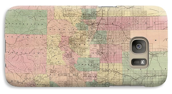 Galaxy Case featuring the drawing Antique Map Of Colorado By G.w. And C.b. Colton And Co. - 1878 by Blue Monocle