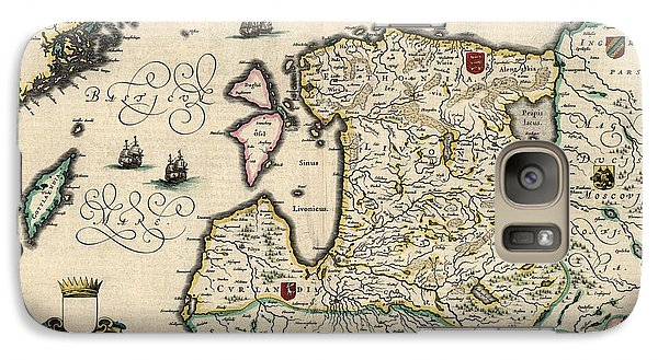 Galaxy Case featuring the drawing Antique Map Of Estonia Latvia And Lithuania By Willem Janszoon Blaeu - 1647 by Blue Monocle