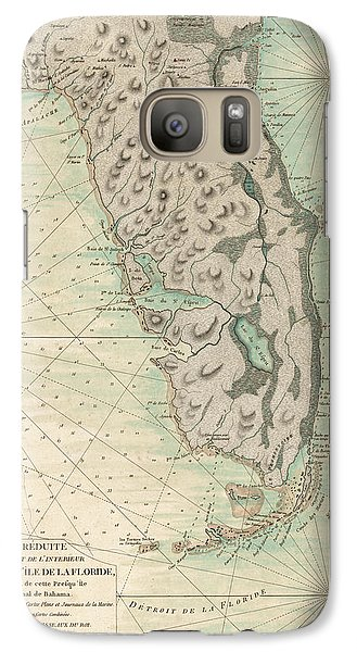 Galaxy Case featuring the drawing Antique Map Of Florida - 1780 by Blue Monocle