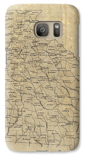 Galaxy Case featuring the drawing Antique Map Of Georgia - 1893 by Blue Monocle