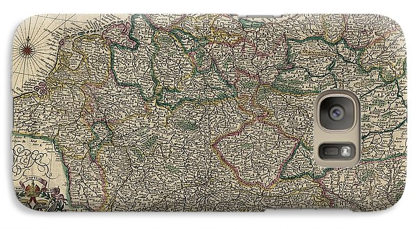 Galaxy Case featuring the drawing Antique Map Of Germany By Willem Janszoon Blaeu - 1647 by Blue Monocle