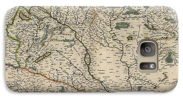 Galaxy Case featuring the drawing Antique Map Of Hungary By Willem Janszoon Blaeu - 1647 by Blue Monocle