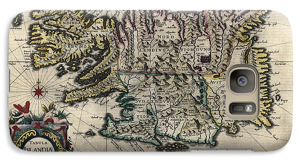 Galaxy Case featuring the drawing Antique Map Of Iceland By Willem Janszoon Blaeu - 1647 by Blue Monocle