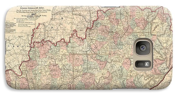 Galaxy Case featuring the drawing Antique Map Of Kentucky By James T. Lloyd - 1862 by Blue Monocle