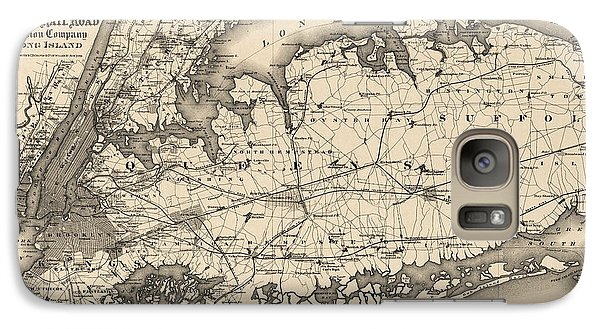 Galaxy Case featuring the drawing Antique Map Of Long Island And New York City - 1873 by Blue Monocle