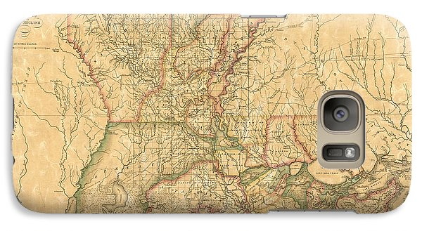 Galaxy Case featuring the drawing Antique Map Of Louisiana By John Melish - 1820 by Blue Monocle