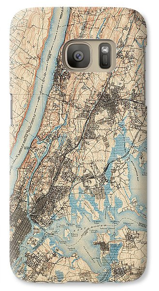 Harlem Galaxy S7 Case - Antique Map Of New York City - Usgs Topographic Map - 1900 by Blue Monocle